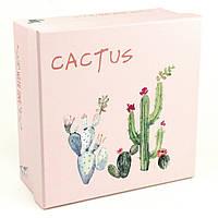 Розовая подарочная коробка Cactus 28x28x12.8 см