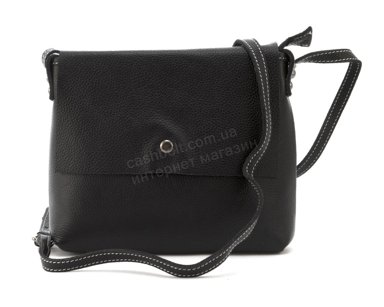 Компактная стильная женская оригинальная сумочка с натуральной кожи GALANTY art. 20039 Турция черный