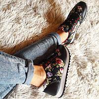 """Женские черные кроссовки принт """"цветы"""" код 293, фото 1"""