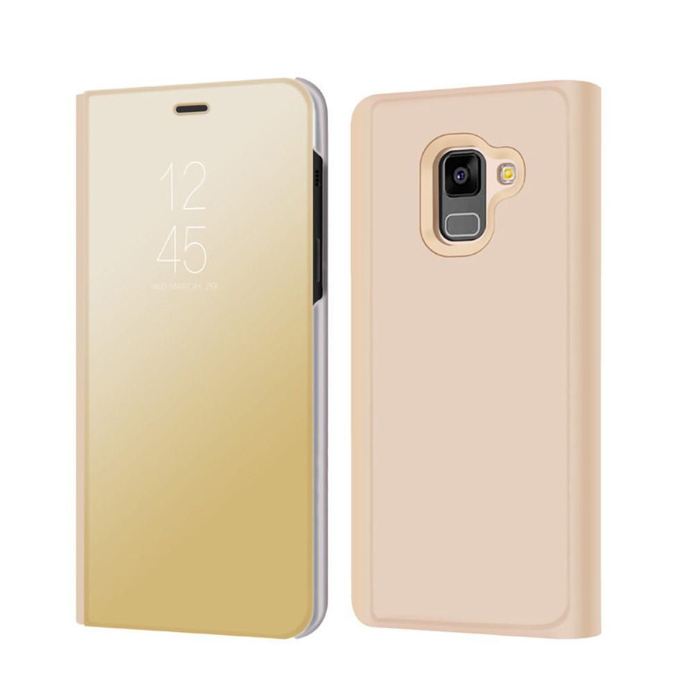 Чохол книжка для Samsung Galaxy A8 2018 A530 бічній з дзеркальною кришкою, Золотистий