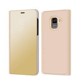 Чехол книжка для Samsung Galaxy A8 2018 A530 боковой с зеркальной крышкой, Золотистый
