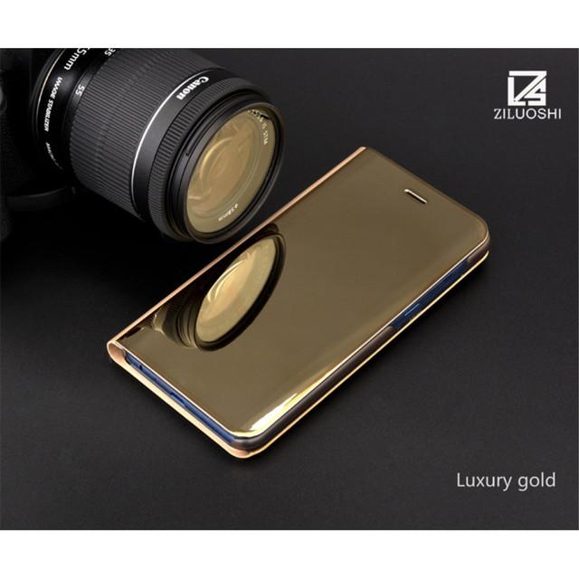 Samsung A8 2018 чохол книжка з дзеркальною кришкою золотистий