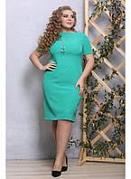 Женское платье Тюссо бирюза с украшением / размер 48-72