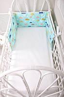 Бортик-защита в кроватку  Улитка Облачка на бирюзе