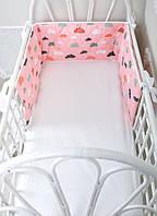 Бортик-защита в кроватку  Улитка Облачка на розовом