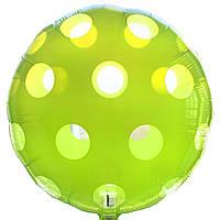 """Фольгированные шары с рисунком 18"""" Круг зеленый в горошек  Anagram"""