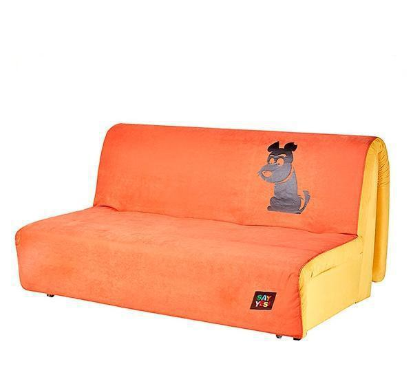 Диван Хеппи 1,3 Бонд Orange 09 и Yellow 08, принт собака (SOFYNO TM)