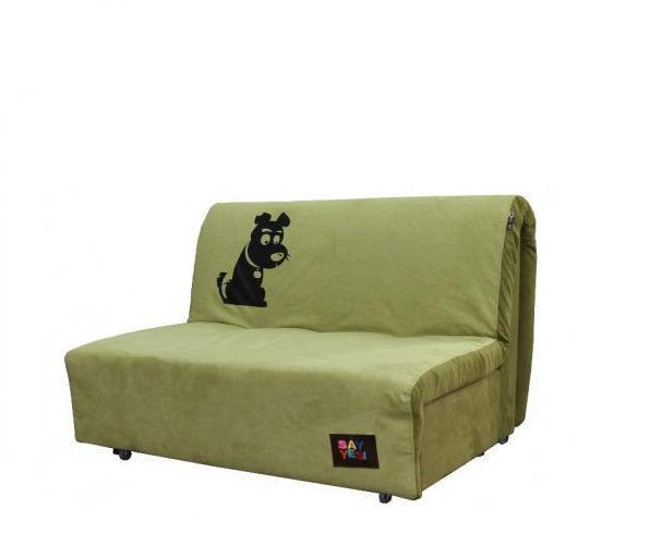 Диван Хеппи 1,3 Бонд Pistachio 11 и Green 10, принт собака (SOFYNO TM)