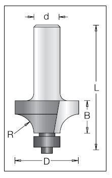 Фреза DIMAR радиусная с подшипником R=7.9 D=28.6 d=8