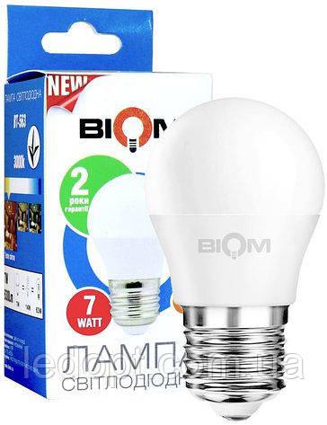 Светодиодная лампа Biom BT-563 G45 7W E27 3000К матовый шарик