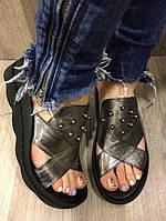 Сабо женские кожаные Teona Nickel никель