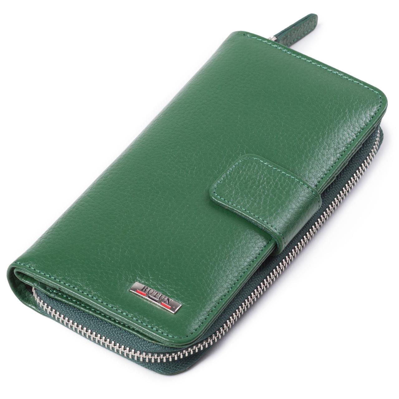 Женский кошелек кожаный зеленый BUTUN 636-004-075