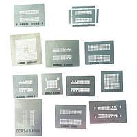 Трафареты BGA для памяти DDR1, DDR2, DDR3, DDR4, DDR5 (набор 12шт)
