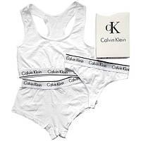 """Женский комплект тройка с шортами Calvin Klein. Белый """"В стиле"""""""