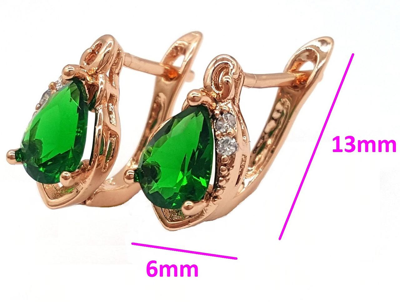 Серьги позолоченные 13mm*6mm, Капелька с зеленым цирконием, англ.замок