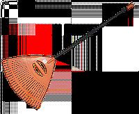 Грабли веерные - 26 зубцов, черенок металлический