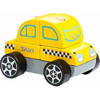 """Машинка разборная """"Такси"""" из деревянных кубиков, ТМ CUBIKA (Левеня), Украина"""