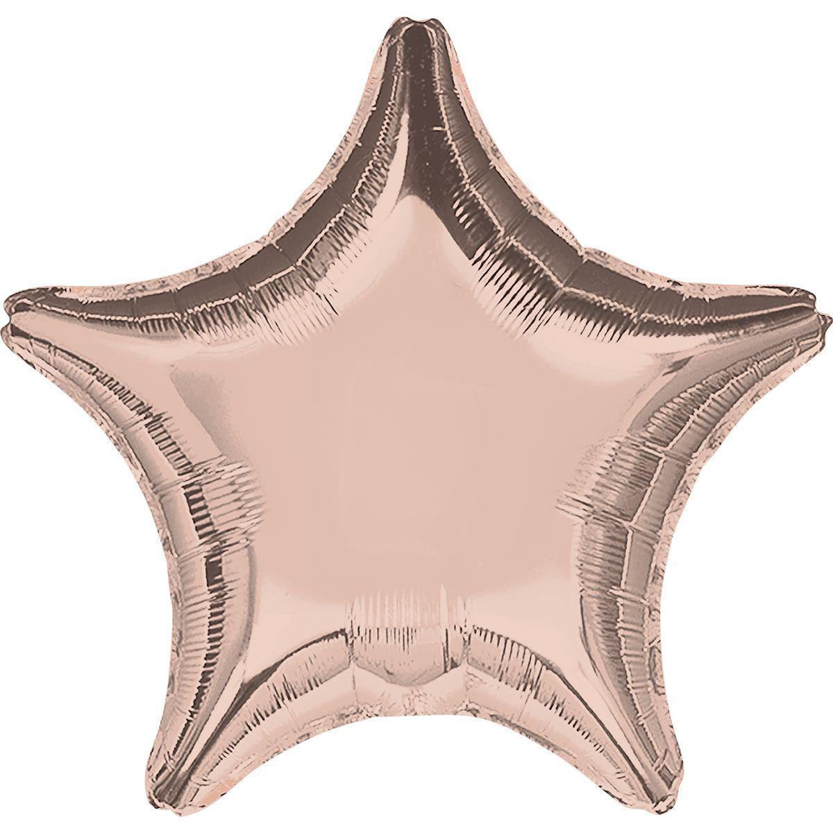 """Фольгированные шары без рисунка  18"""" Звезда металлик розовое золото (FlexMetal)"""
