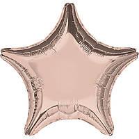 """Фольгированные шары без рисунка  18"""" Звезда металлик розовое золото s15 (Anagram)"""