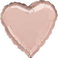 """Фольгированные шары без рисунка  18"""" Сердце металлик розовое золото s15 (Anagram)"""