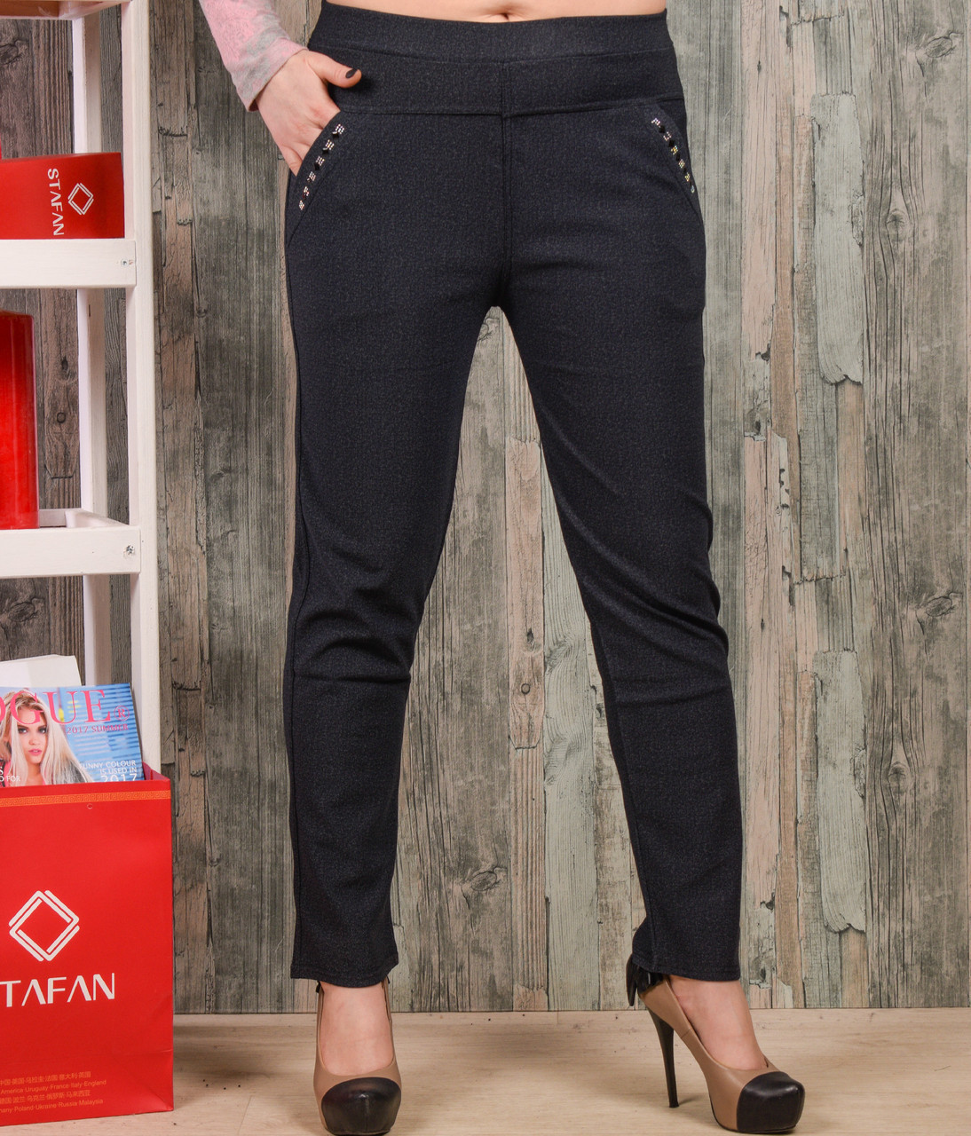 Женские брюки со стразиками на карманах Jujube B021-7 4XL-6XL. Размер