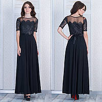 """Черное длинное вечернее платье с гипюром """"Ажур"""""""