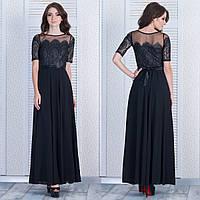 """Черное длинное вечернее платье с гипюром """"Ажур"""", фото 1"""