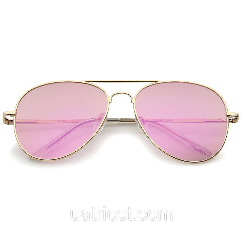Женские солнцезащитные очки авиаторы в золотой оправе