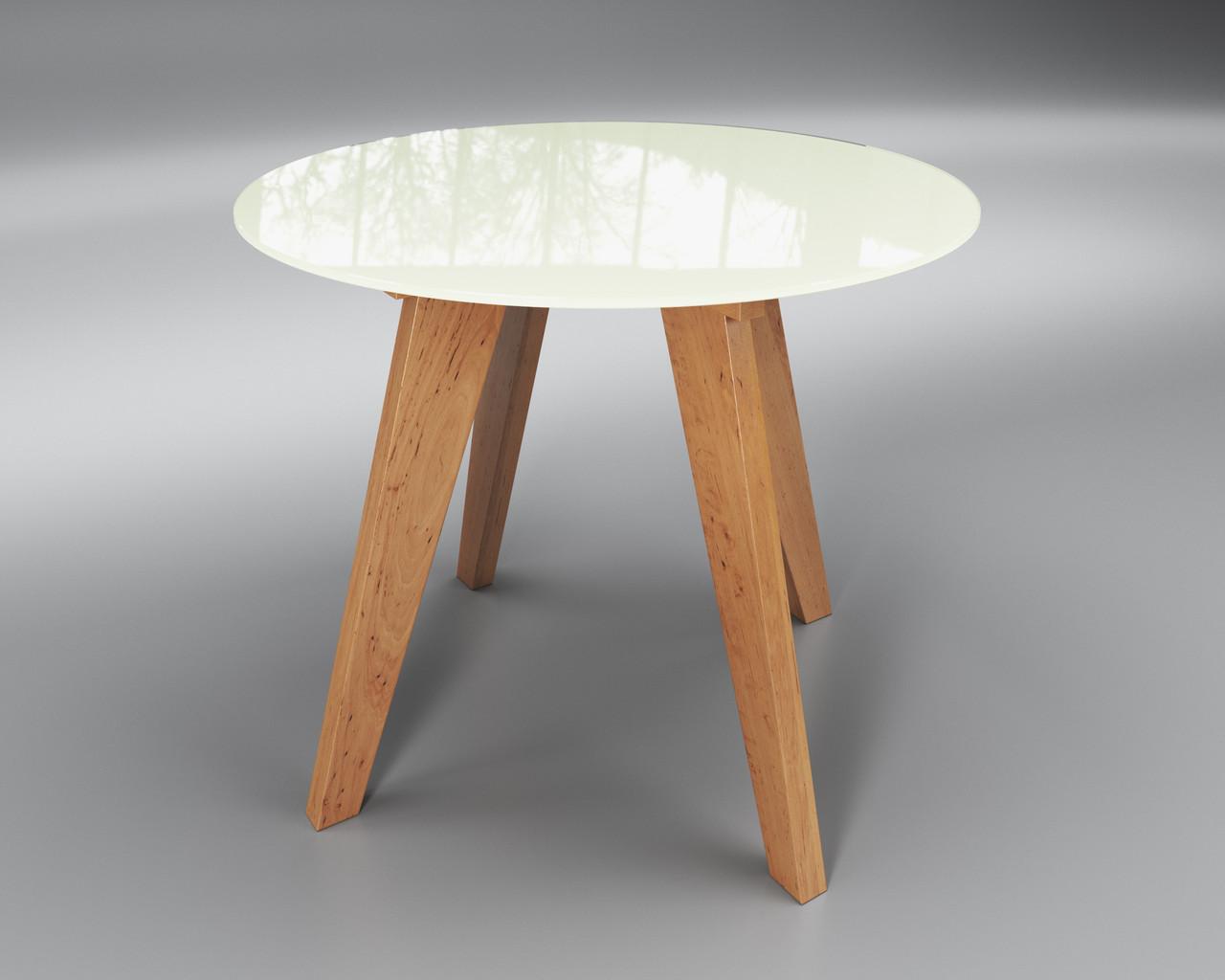 Стол круглый Леонардо Сентензо, 900х760 мм, стеклянный и деревянные ножки