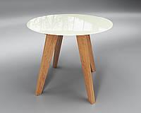 Стол круглый Леонардо Сентензо, 900х760 мм, стеклянный и деревянные ножки, фото 1