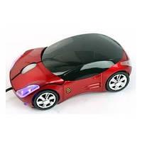 Оптическая авто-мышь usb, в виде маленькой стильной машинки, с мигающими фарами и колесом прокрутки, красная