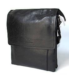 Сумка планшет черного цвета кожа 26 см