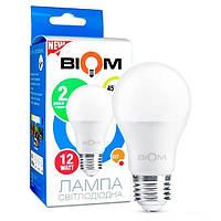 Светодиодная лампа Biom BT-511 А60 12W E27 3000К матовий шарик