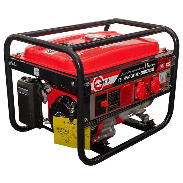 Генератор бытовой бензиновый 2.4 кВт., 5.5 л.с., 4-х тактный, ручной пуск Intertool DT-1122