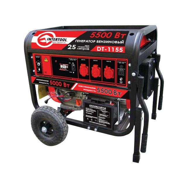 Генератор бензиновый 5,5-5 кВт., 13 л.с., 4-х тактный, эл. и ручной пуск Intertool DT-1155