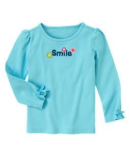 Голубой Реглан с аппликацией и вышивкой  Smile (Размер 3Т) Gymborеe (США)