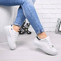 Кроссовки криперы Tissa белые+ серебро 4690, спортивная обувь