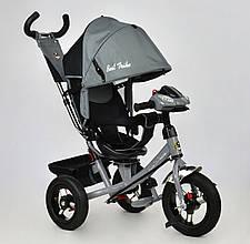 Велосипед 3х колесный Best Trike 7700. Поворотное сиденье, Игровая панель. Серый