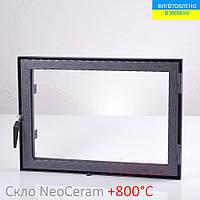 Дверца со стеклом для камина Hetta Neo 470*680