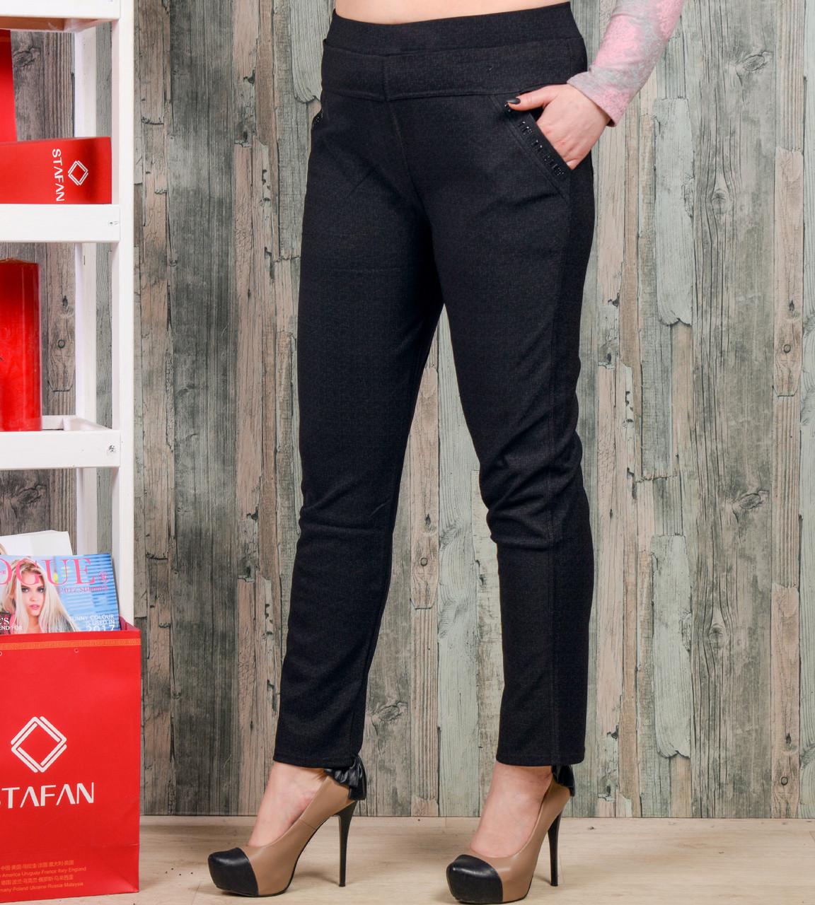 Женские брюки со стразиками на карманах Jujube B021-8 4XL-6XL. Размер