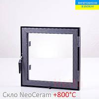 Дверца для камина со стеклом Hetta Neo 500. Размеры 500/500мм