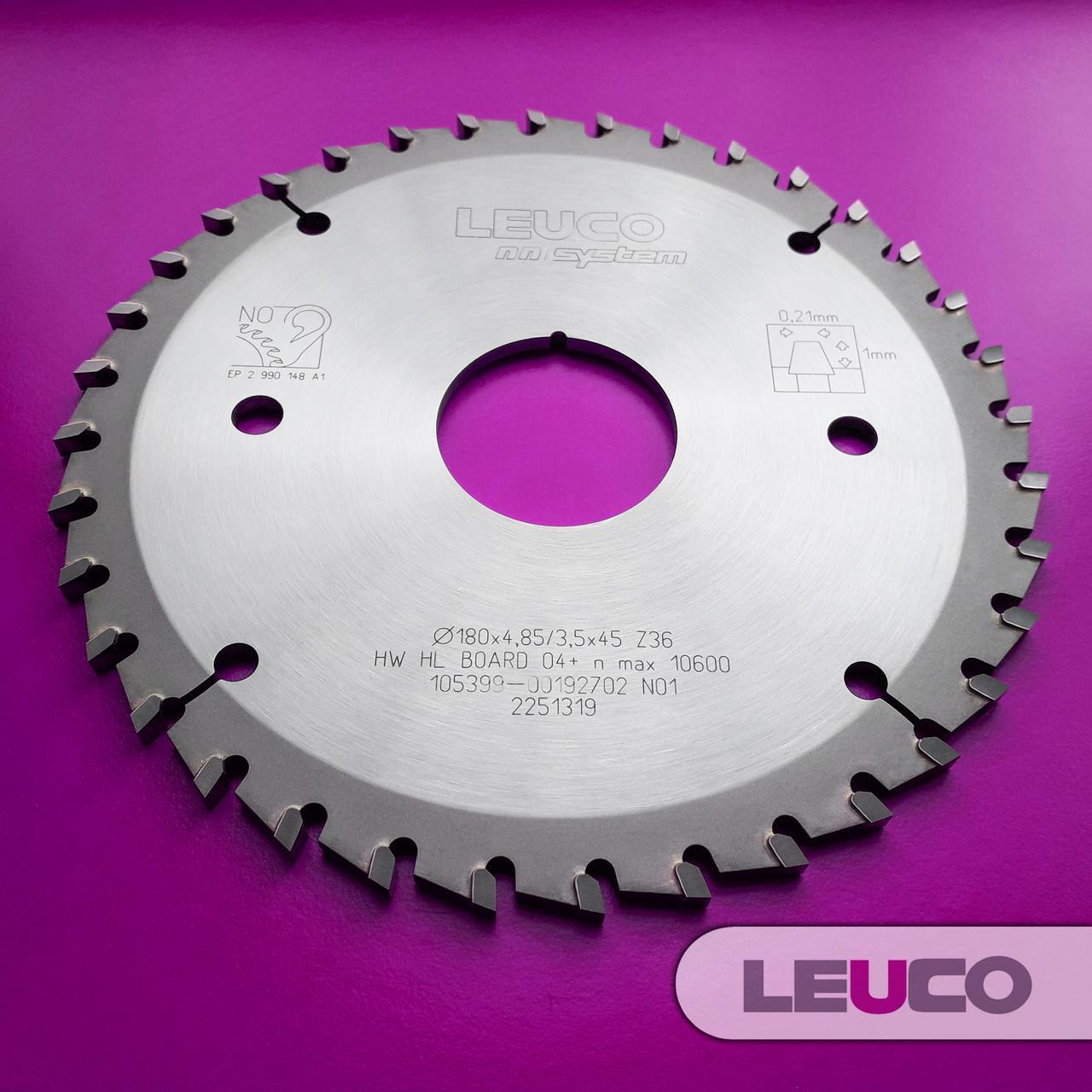 180x4,85-5,65x3,5x45, Z=36 Підрізна дискова пила Leuco - nn-System для пильних центрів