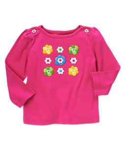 Яскраво-рожевий реглан Реглан з аплікаціями та вишивкою з квіточками (Розмір 3Т) Gymboree (США)