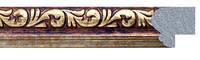 Фоторамка 21х30 см. коричневая с золотым рисунком, багет 1718-06, фото 1
