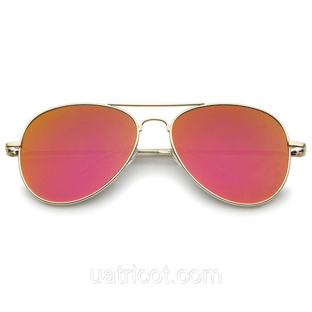 Женские солнцезащитные очки авиаторы в золотой оправе с оранжевой линзой