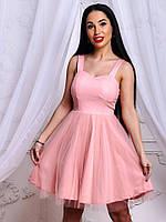 Стильное красивое розовое платье котон + фатин на бретеях