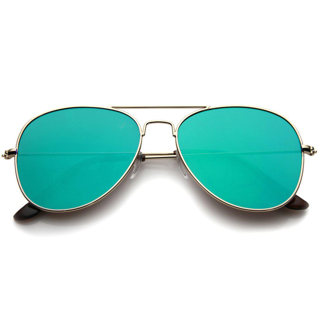 Женские солнцезащитные очки авиаторы маленькие в золотой оправе с зелёной линзой