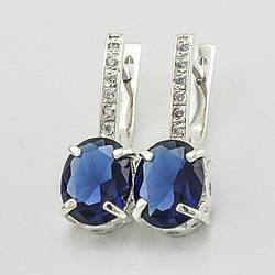 Серебряные серьги 1153 пс, размер 24*8 мм, вставка синий алпанит, вес 4.26 г