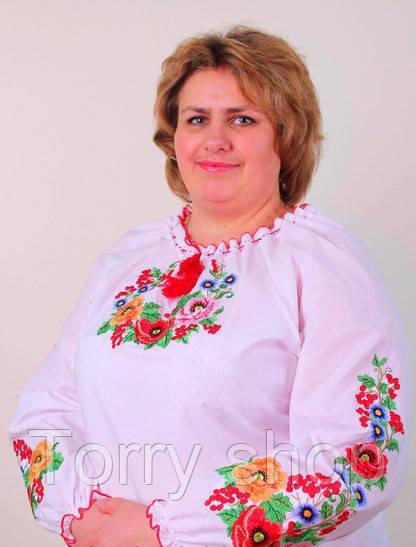 Вышиванка женская с оригинальной вышивкой на больших женщин