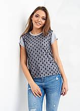 Трикотажная серая футболка с вставкой из сетки